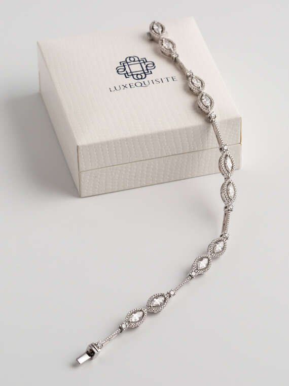 Marquise Bracelet with Pave Diamonds set in White Gold