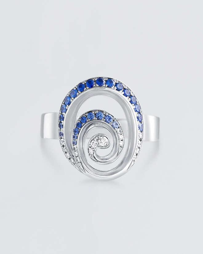 Blue Sapphire & Diamond Swirl Ring