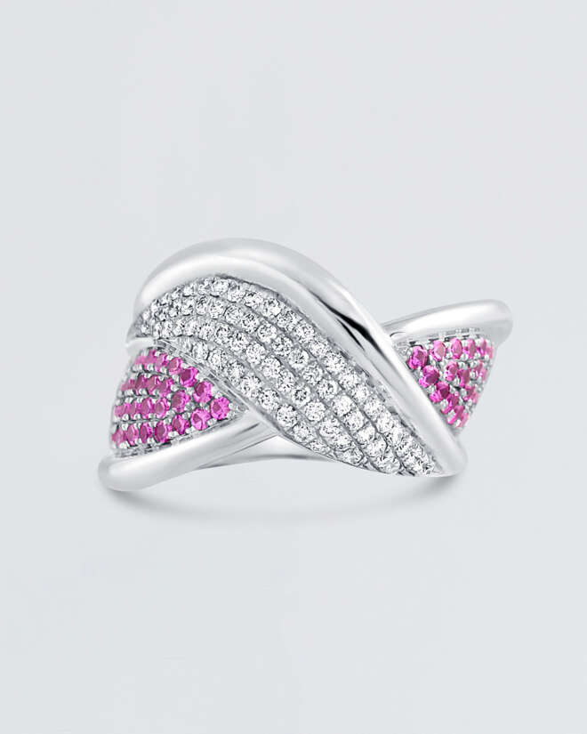 Diamond Overlay Pink Sapphire Ring