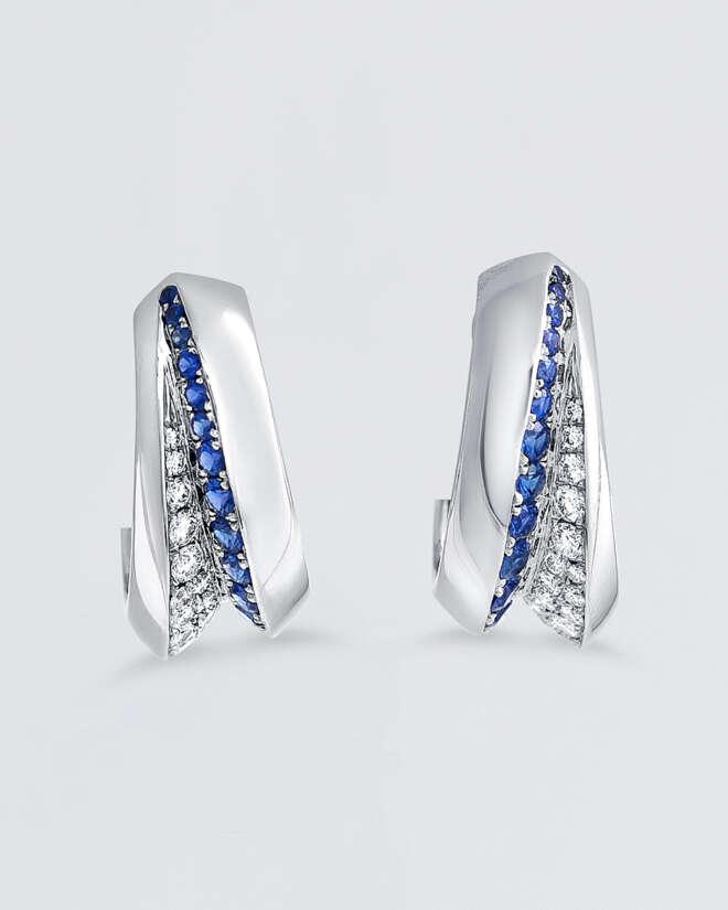 Blue Sapphire Wave Hoop Earrings