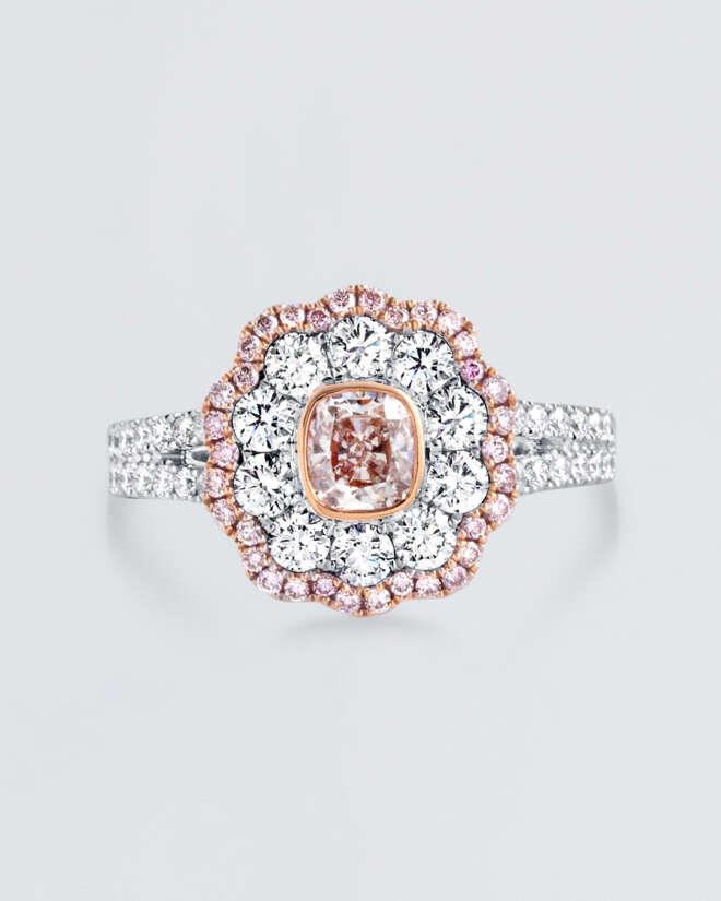 Flower Shaped Diamond White Gold Ring