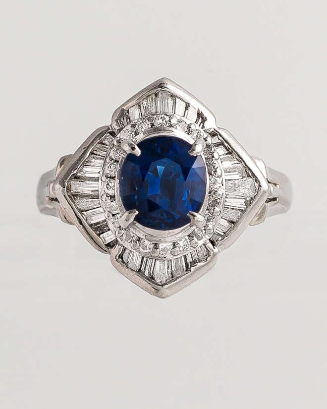 Deep Blue Sea Sapphire Diamond Ring