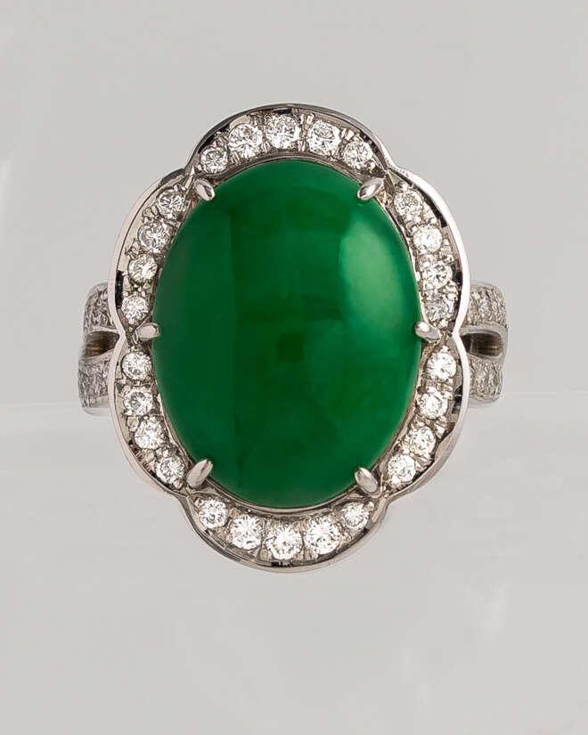 Jade Cabochon Diamond Ring
