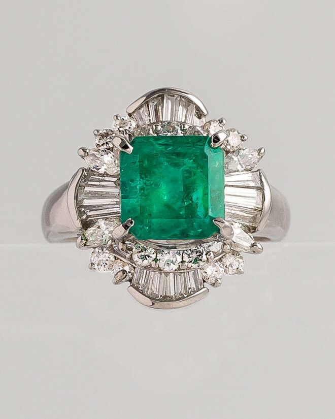 Cushion Emerald Diamond Ring